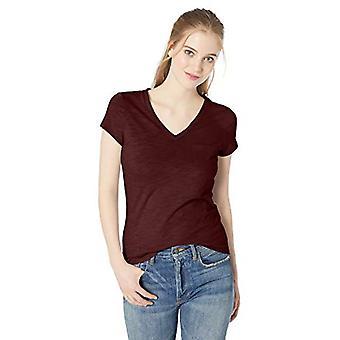 Marke - Tägliche Ritual Frauen's leichte gelebte Baumwolltasche V-Ausschnitt T-Shirt, Maroon, X-Small
