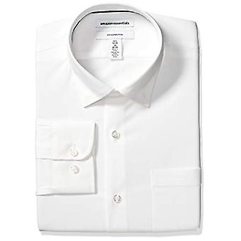 Essentials Men & apos;s Slim-Fit التجاعيد المقاومة للتجاعيد قميص اللباس، أبيض ...