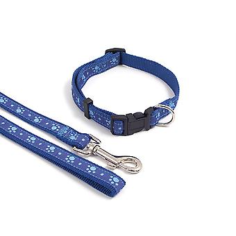 Wag N Walk Nylon Adjustable Collar Paw - Blue - 10-14 inch