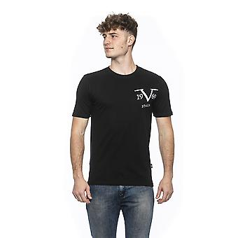 Nero black crew neck fitted t-shirt
