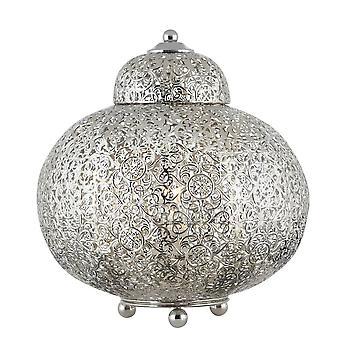 Searchlight Fretwork - 1 lekka marokańska lampa stołowa Shiny Nickel, E14