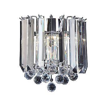Endon Fargo - 2 Light Indoor Wall Light Chrome, Clear Acrylique, E14