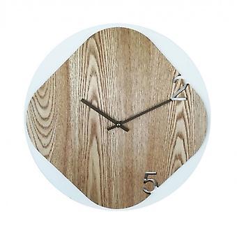 Rebecca Møbler Ur En hvid væg moderne træ runde rum 40x40x5
