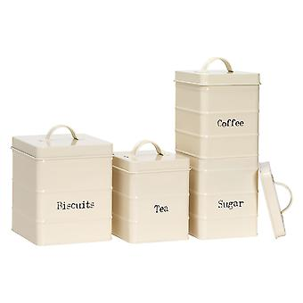 4 Peça Industrial Kitchen Storage Conjunto de recipientes - Vintage Style Steel Coffee Coffee Sugar Caddy com Tampa - Creme