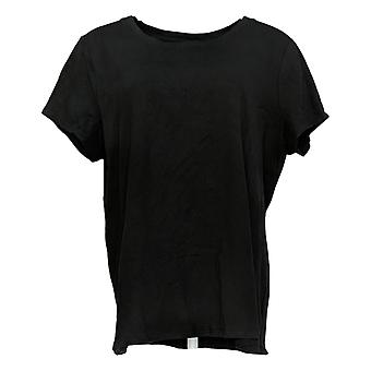Kelly By Clinton Kelly Women's Top Round Neck Knit T-Shirt Black A305994