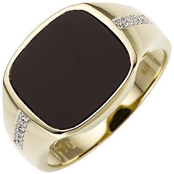 Anello uomo 585 Oro Giallo Oro bicolore 12 Diamanti Brillante 1 Anello d'Oro Onyx