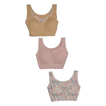Rhonda Shear One Beige/Pink Paisley Bra Set Almohadillas Extraíbles 730-792