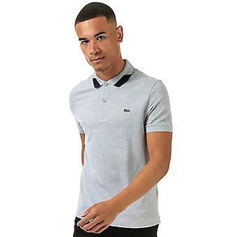 Lacoste mænd's grå krave detalje kort ærme polo shirt