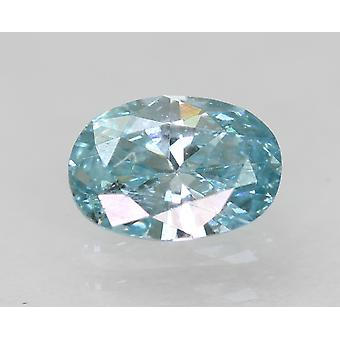 Cert 0,35 Karat Fancy Sky Blue VS1 Oval Enhanced Natural Diamond 5.68x4.02mm 2VG