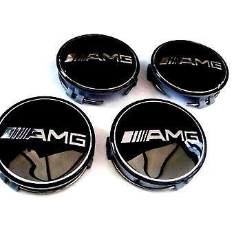 Black Mercedes AMG Car Wheel Center Caps Hub Cover 75mm 4 PCS For A B C E S G CLASS CLA CLS SLK ML AMG