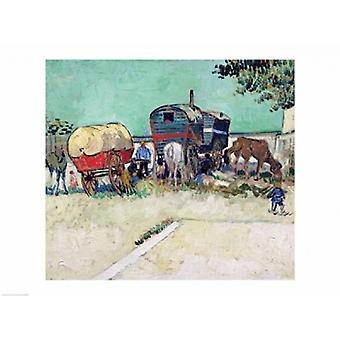 The Caravans Gypsy Encampment near Arles Poster Print by Vincent Van Gogh (24 x 18)