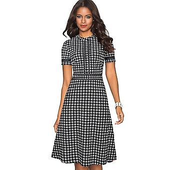 Round Neck Pinup Party Flare A-line Retro Women Dress
