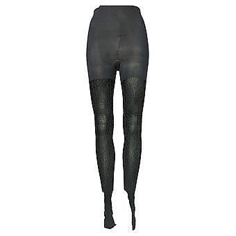 Legacy E/F Control Top Tights Animal Print en Solid 2 Pack Black A370514