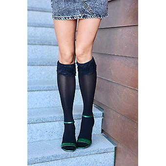 Elegant Knee-highs With Lace Cuff Socks