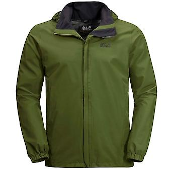 Jack Wolfskin Stormy Point Jacket Zip Up Hooded Coat Green 1111141 4521