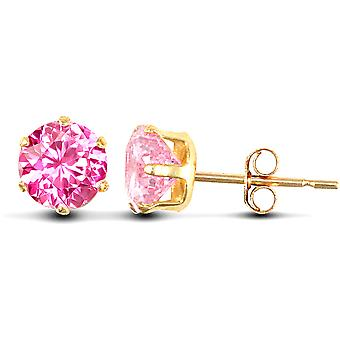 Jewelco London Ladies 9ct Yellow Gold Pink Round Brilliant Cubic Cyrkonia Solitaire Claw Set Stud Kolczyki, 6mm
