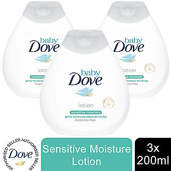 Baby Dove Sensitive Moisture Fragrance Free Lotion, 3 Pack of 200ml
