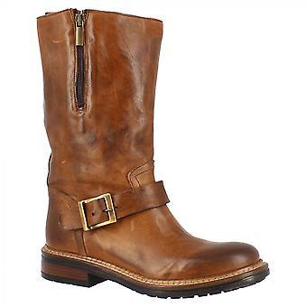 Leonardo Shoes Women's handgemaakte midcalf laarzen in bruin kalfsleer met zijrits en gespsluiting