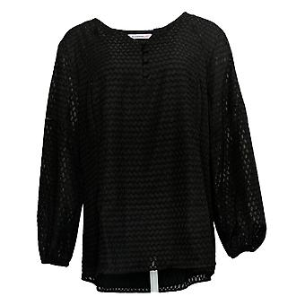 Isaac Mizrahi Live! Dames's Plus Top Clip Dot Blouse Black A349944