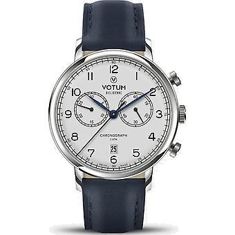 VOTUM - Unisex watch - VINTAGE CHRONOGRAPH - VINTAGE - V10.10.11.02 - leather strap - blue