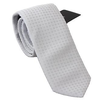 White patterned classic mens slim necktie tie