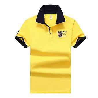 Sommer mænd polo shirt, herre syntetisk fiber kortærmet broderi,