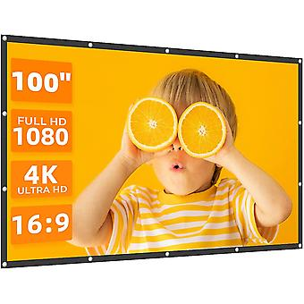 Projector Screen 100 inches 16:9 Portable Indoor Outdoor Projection Polye