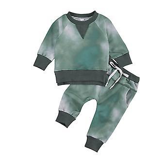 0-24m Newborn Baby Tie-dye Printed Long Sleeve O-neck Top Pants