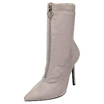 Koi Footwear High Heel Stiletto Mid Calf Boots Pointed Toe Grey Suede