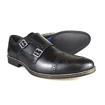 Red Tape Eaton Men's Black Leather Formal Brogue Monk Shoes