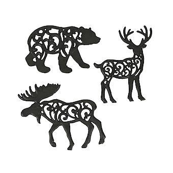 Set of 3 Cast Iron Lodge Design Wild Animal Kitchen Trivets Decorative Wall Hanging Art Deer Moose Bear