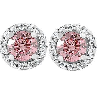 1/2 Ct Halo Rosa Diamant Lab Dyrket Diamant Pigger Hvitt Gull Skrue Tilbake Øredobber