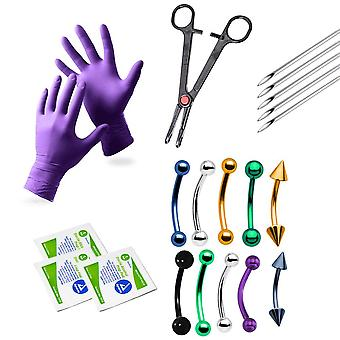 20-Piece eyebrow & ear cartilage piercing kit - 10 curved barbells, glove + more