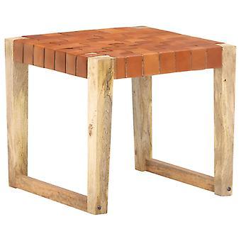 vidaXL البراز البني الفاتح الجلود الأصلية والمانجو الخشب الصلب