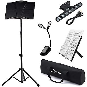 Sheet Music Stand Folding Travel Metal Stand DMS-1 with Carrying Bag