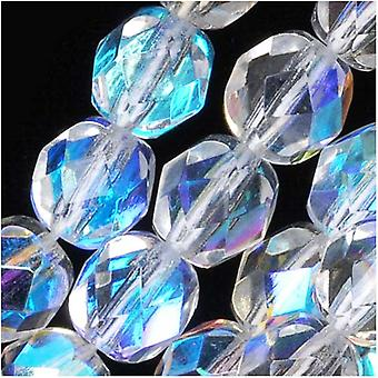 Czech Fire Polished Glass Beads 7mm Round Crystal AB (25)