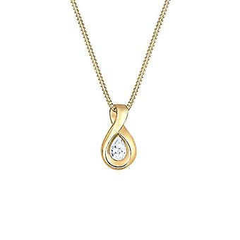 Elli Naisten kaulakoru keltainen kulta 14K valkoinen zirkoniumoksidi