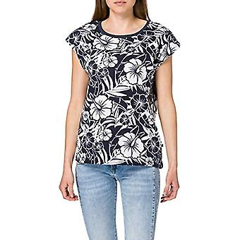 LTB Jeans Jinazi T-Shirt, White Navy Hibiscus Print 12260, Large Woman