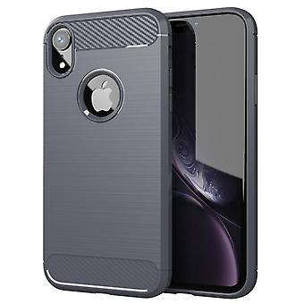 Tpu carbon fiber hoesje voor iphone xr grijs mfkj-789