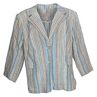 Laurie Felt Women's Plus Striped Crop Blazer Azul A352555