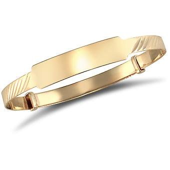 Jewelco London Baby Solid 9ct Yellow Gold ID 3mm Expanding Bangle Bracelet