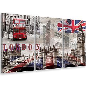 Tableau triptyque london graphique england - 90x60 cm