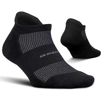Feetures High Performance Cushion  No Show Tab Unisex Running Socks, Black - Small
