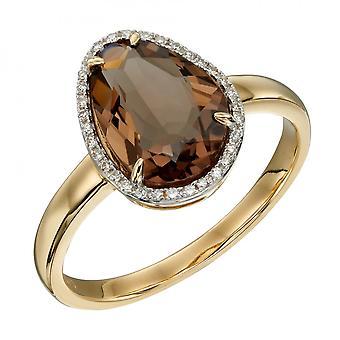 エレメンツゴールド不規則な形のスモーキークォーツダイヤモンドイエローゴールドリングGR585Y