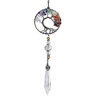 Lasinen auringonsieppaaja kristalli riipus sateenkaari värikäs muotoinen elämä puu sisustus (pyöreä puu)