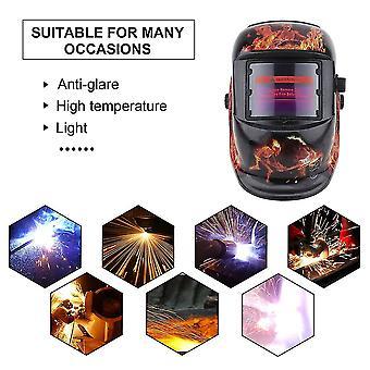 Solar Powered Auto Darkening Welding Mask Flame Pattern Soldering Supplies