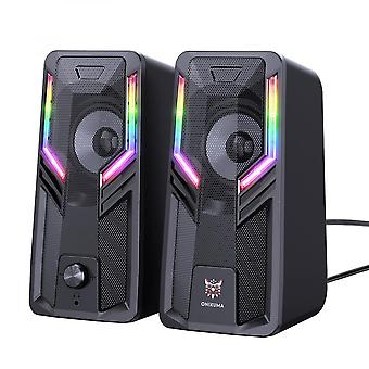 Desktop Speaker Small Usb Wired Speaker With Rgb Light And Touch Control