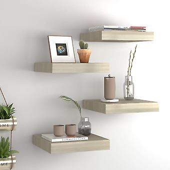 vidaXL Floating wall shelves 4 pcs. oak paints 23x23.5x3.8cm MDF