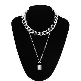 שרשרת שרשרת שכבות, שרשראות לנעול תליון תכשיטים, פאנק קולר, מנעול גותי,(כסף