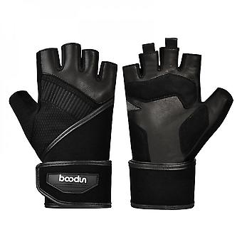 New Fitness Gloves Half Finger Deerskin Lengthened Wrist Guard Sports Bicycle Riding Gloves